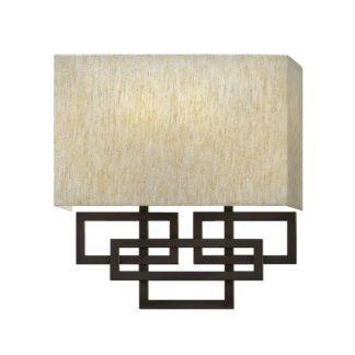 Geometryczny kinkiet Lanza - beżowy abażur, brązowa podstawa