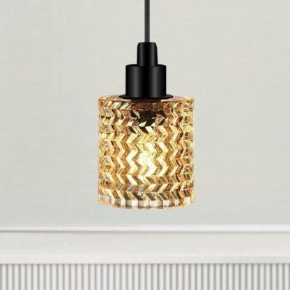 szklana lampa wisząca bursztynowa