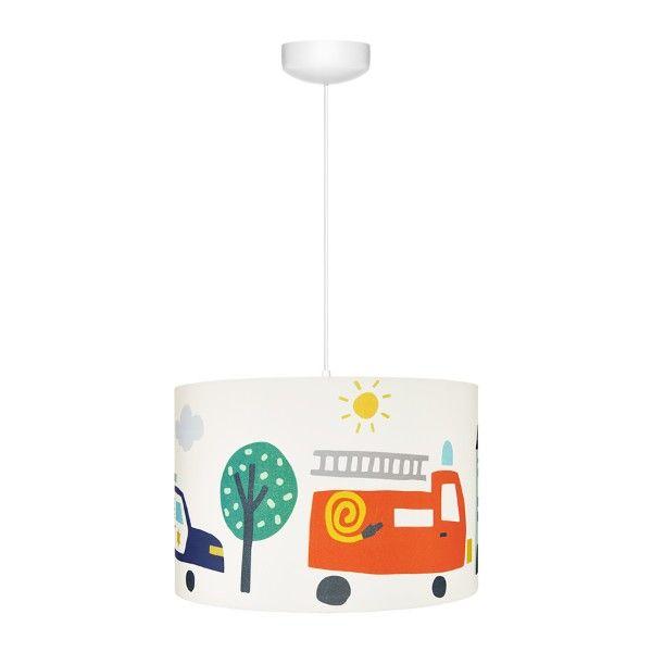 Lampa wisząca City Transport - bawełniany abażur, pokój dziecięcy
