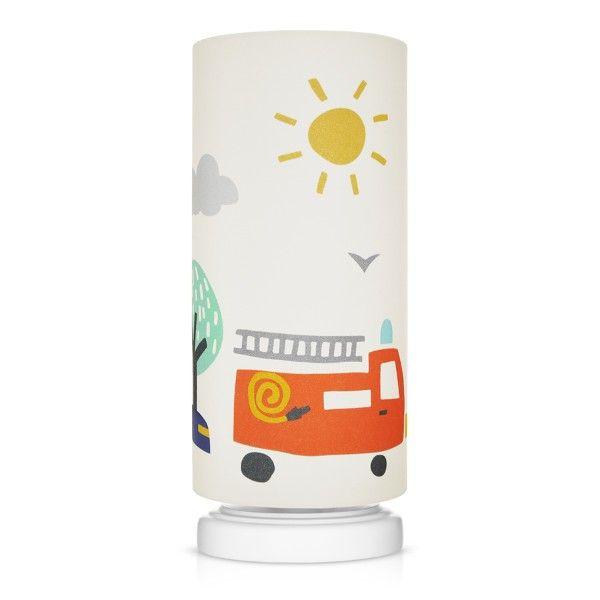 Lampka nocna City Transport - biała w kolorowe samochodziki