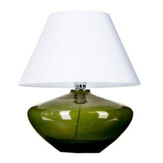 Zielona lampa stołowa Mardid - szklana, biały abażur