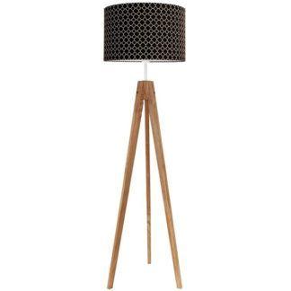 Brązowa lampa podłogowa Young - czarny abażur w biały wzór