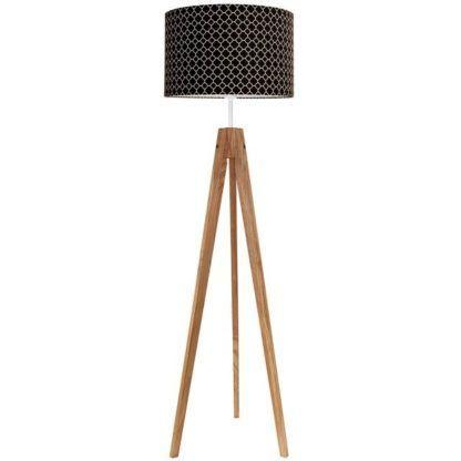 drewniana lampa podłogowa czarny abażur