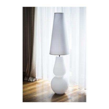 biała lampa stojąca nowoczesna