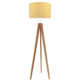 Modna lampa podłogowa Elegance - drewniany trójnóg, żółty abażur