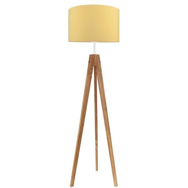 drewniana lampa podłogowa musztardowy abażur