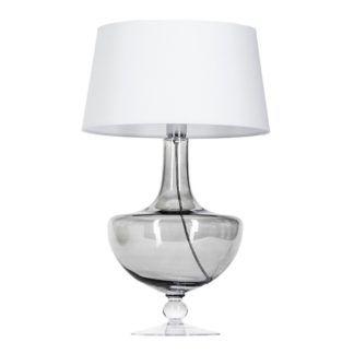 Szklana lampa stołowa Oxford - szara z białym abażurem