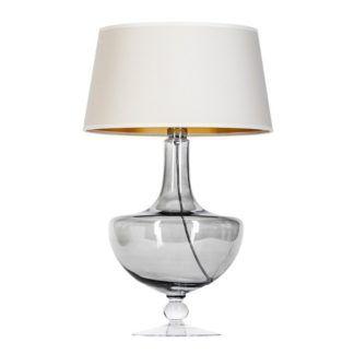 Elegancka lampa stołowa Oxford - szara z kremowym abażurem