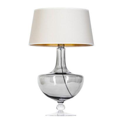 szara lampa stołowa do sypialni
