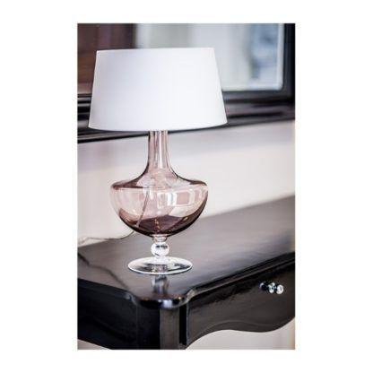 miedziana lampa stołowa ze szkła