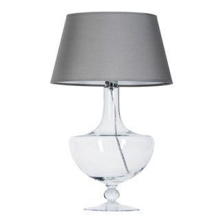 Elegancka lampa stołowa Oxford - transparentna, szary abażur