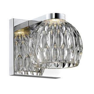 Efektowny kinkiet Aurelia - szklany klosz, srebrna podstawa