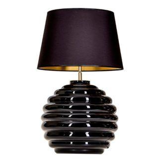 Duża lampa stołowa Saint Tropez - czarna, z abażurem
