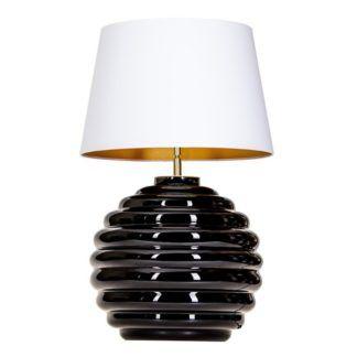 Lampa stołowa Saint Tropez - czarna z białym abażurem