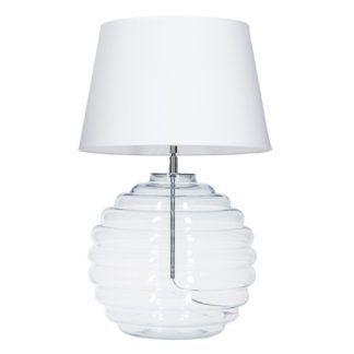 Transparentna lampa stołowa Saint Tropez - biały abażur, szklana