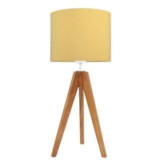 Drewniana lampa stołowa Elegance- trójnóg, żółty abażur
