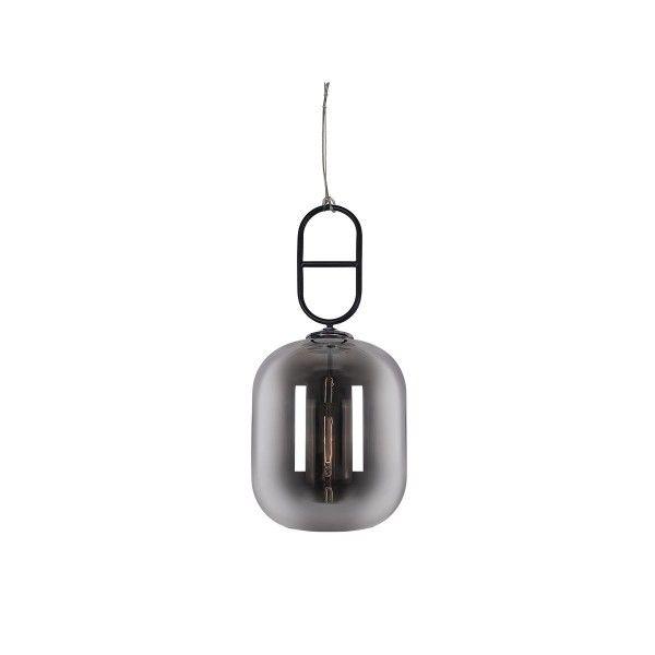 szklana lampa wisząca szara