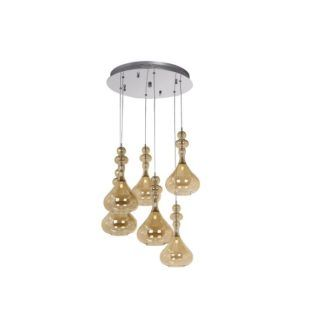 Oryginalna lampa wisząca Rain - beżowe szkło, srebrna podstawa