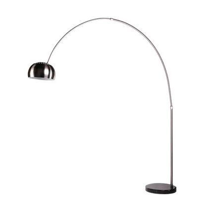 lampa podłogowa duży łuk srebrna