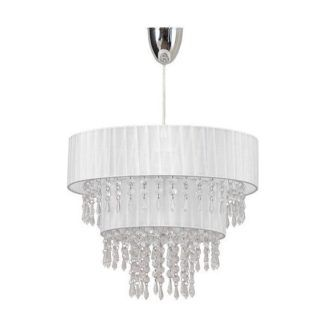 Biała lampa wisząca Toscana - glamour, kryształki