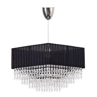 Efektowna lampa wisząca Modena - czarny abażur, kryształki