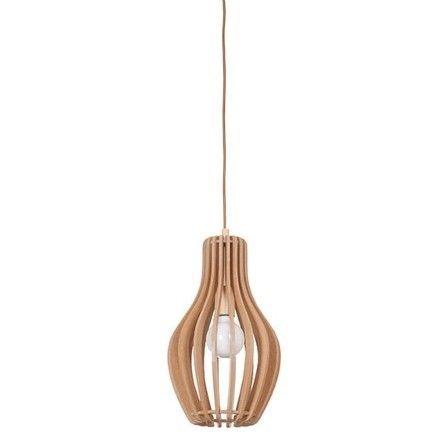 drewniana lampa wisząca aranżacja