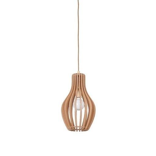 lampa wisząca z drewnianych listewek