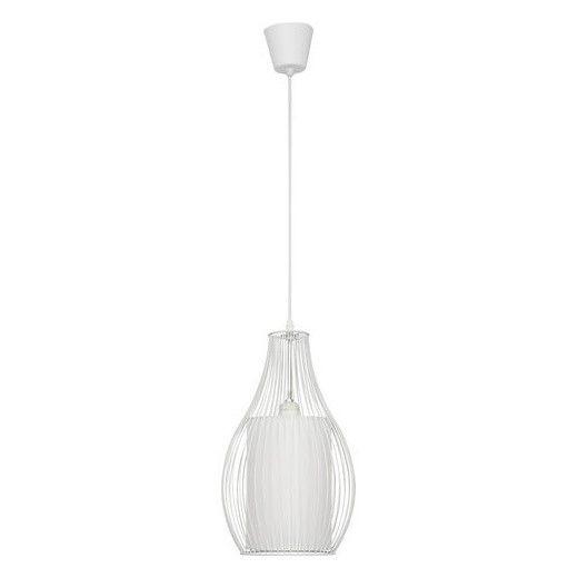 biała lampa wisząca abażur i druciany klosz