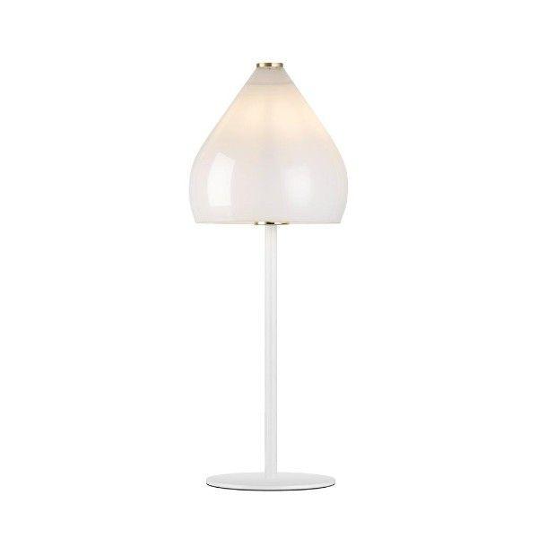 szklana lampa stołowa - aranżacja scandi