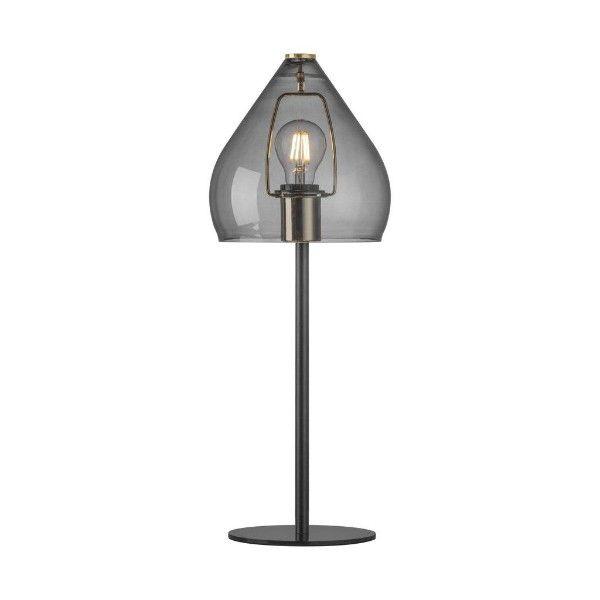 szara lampa stołowa szklany klosz