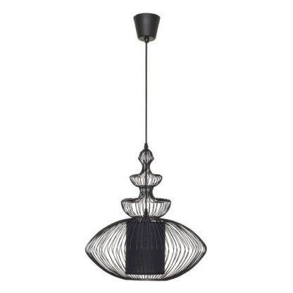 designerska lampa wisząca pręty i materiałowy abażur