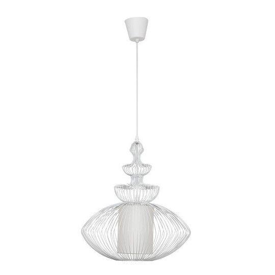 biała lampa wisząca z metalowych prętów i tkaniny