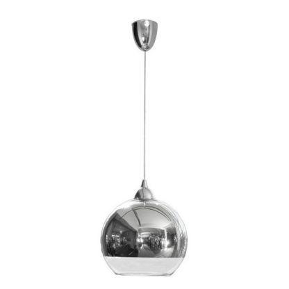 srebrna szklana lampa wisząca nowoczesna