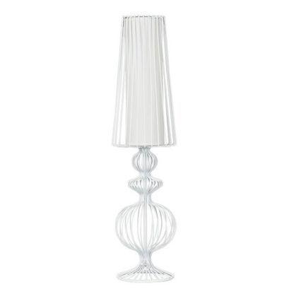 biała lampa podłogowa do salonu, styl skandynawski