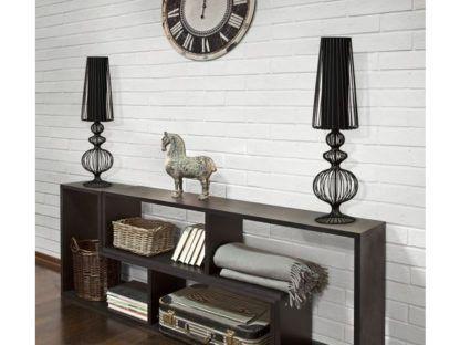 czarna lampa stołowa z abażurem aranżacja moden classic