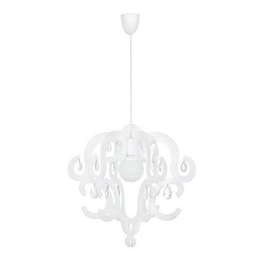biała lampa wisząca glamour nowoczesna aranżacja salon
