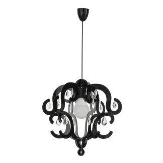 Elegancka lampa wisząca Katerina - czarny klosz, połysk