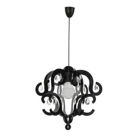 czarna lampa wisząca glamour ażurowa