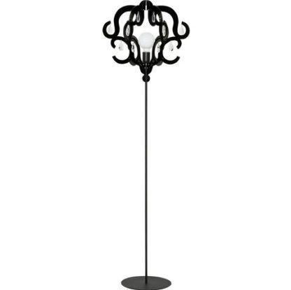 Czarna lampa podłogowa Katerina - otwarty klosz, kryształki