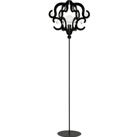 ażurowa lampa podłogowa w stylu glamour czarna