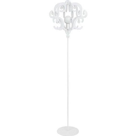 biała lampa podłogowa z ażurowym kloszem z kryształkami glamour