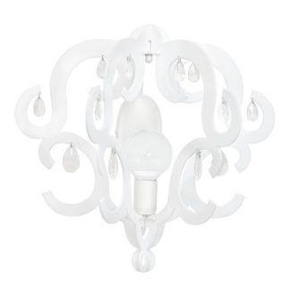 Biały kinkiet Katerina - dekoracyjny klosz z kryształkami