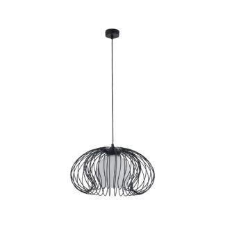 Czarna lampa wisząca Mersey V1 - druciany klosz
