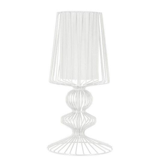 biała druciana lampa stołowa
