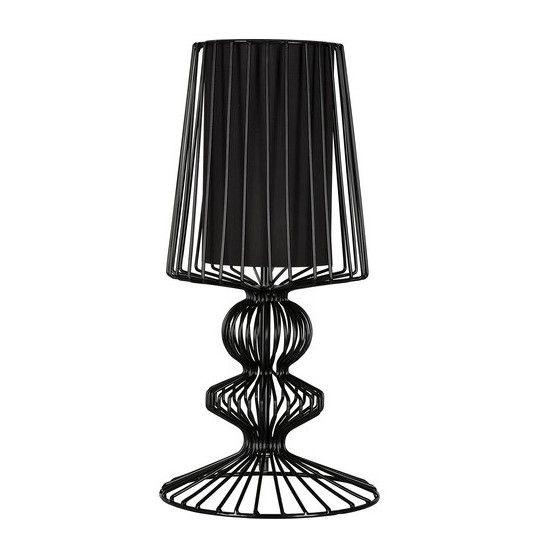 czarna druciana lampa stołowa