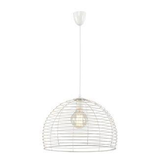 Biała lampa wisząca Perth - druciany klosz