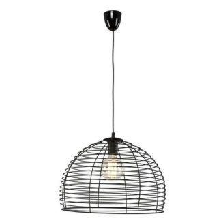 Czarna lampa wisząca Perth - ażurowy klosz, metalowa