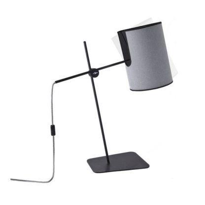 lampa biurkowa z szarym abażurem