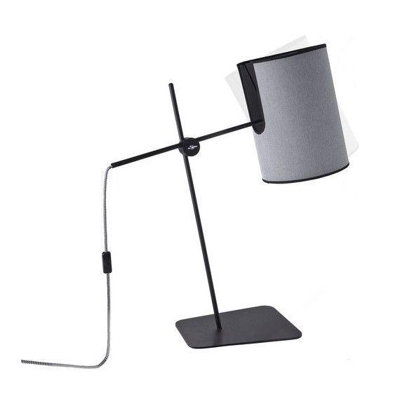 Nowoczesna lampa stołowa Zelda - czarna, szary abażur