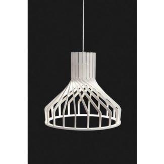 Biała lampa wisząca Bio - drewniana, skandynawska